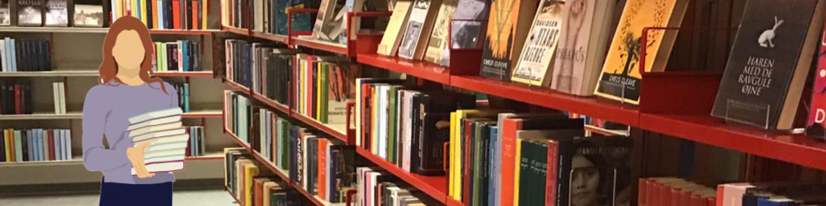Bibliotekar foran boghylder