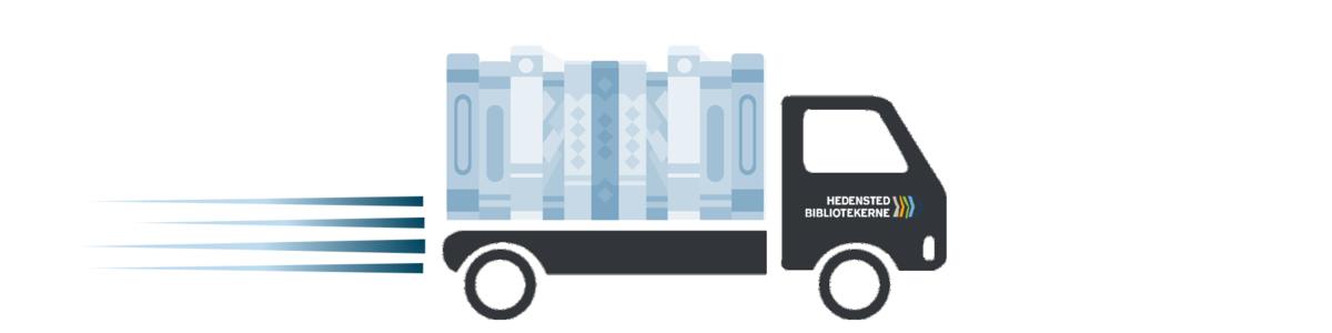 Lastbil med bøger på laddet